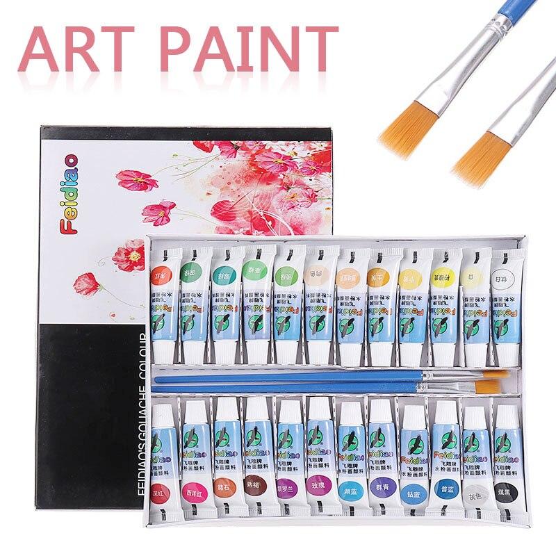 Tubo de pintura de 24 colores, herramienta de pintura Gouache, juego de pigmentos con 2 pinceles para artista, Estudiante de pintura, juego suministros arte