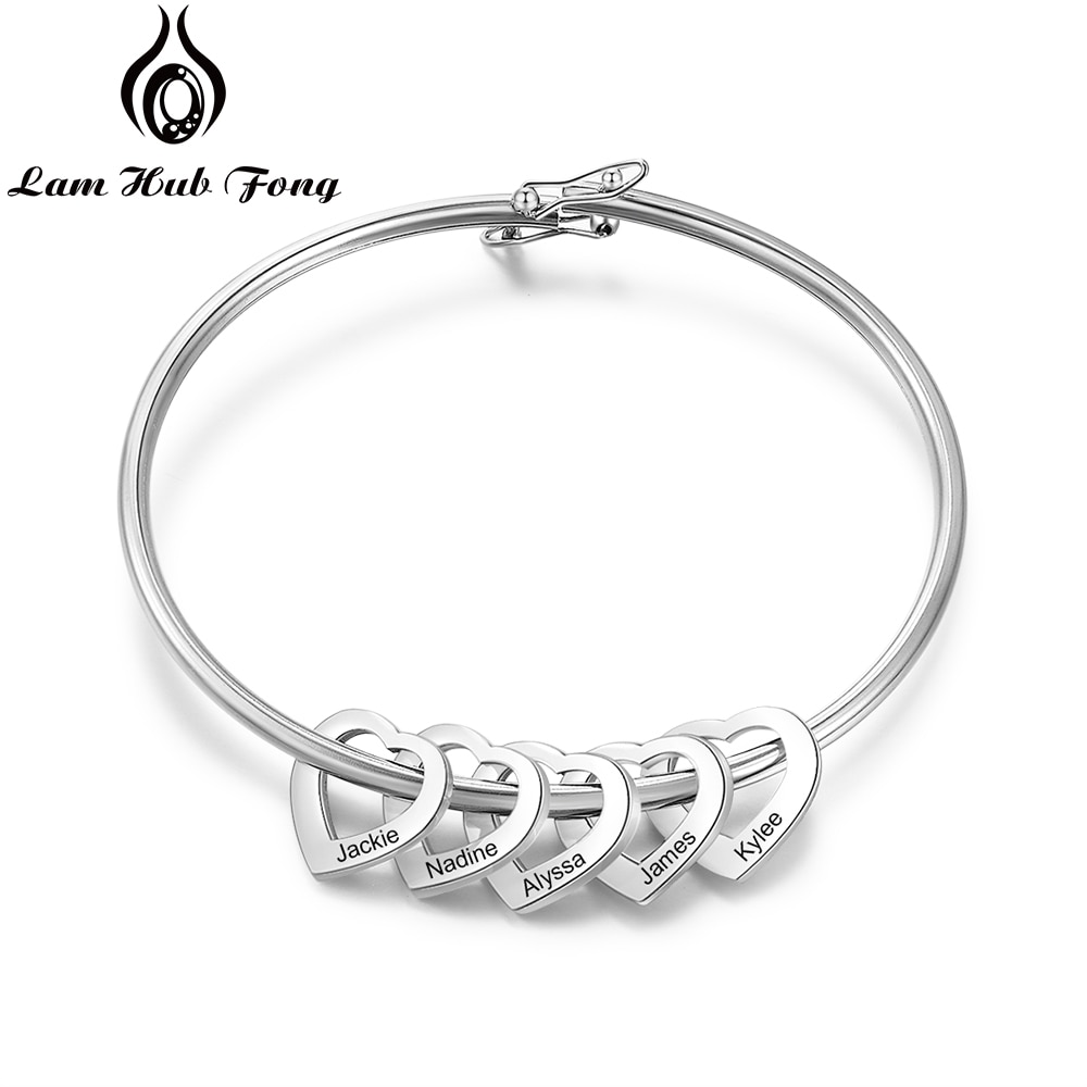 Pulsera personalizada con 2-6 dijes de corazón, pulsera personalizada de acero inoxidable para mujer, joyería, regalo familiar (Lam Hub Fong)