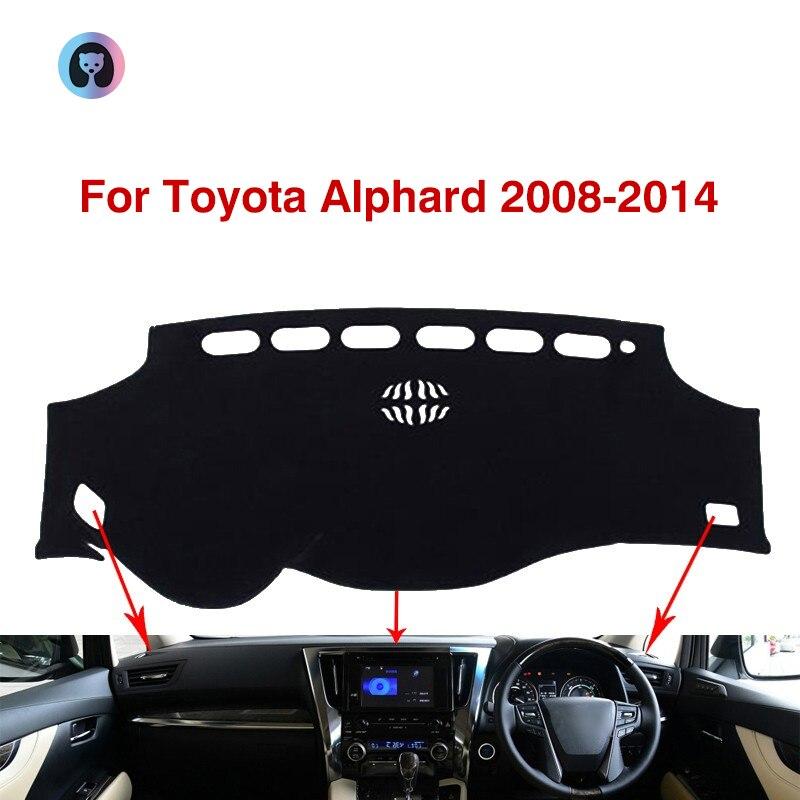 Para Toyota Alphard Anti-Slip Mat almohadilla de la cubierta del tablero de sombrilla alfombra Dashmat accesorios del coche 2008-2014, 2009, 2010, 2011