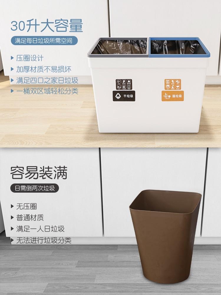 Plastic Large Modern Trash Can Recycling Bins Garbage Sorting Trash Bin Kitchen Rectangle Rangement Cuisine Trashcan BK50LJ enlarge