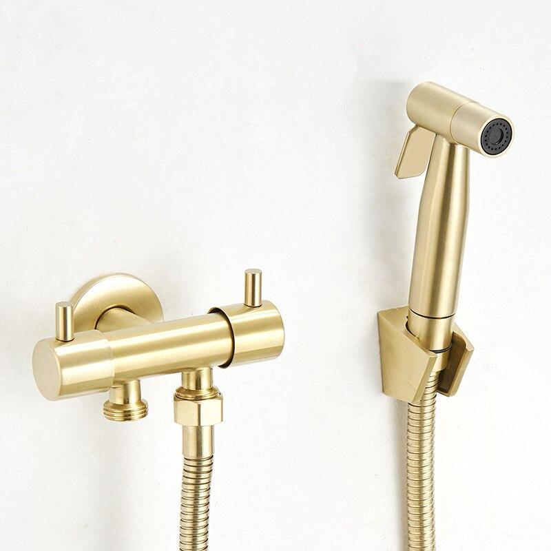 حنفية بيديت نحاسية عالية الضغط ، للحمام ، مثبتة على الحائط ، مع فرشاة ، مسدس مرحاض مزدوج
