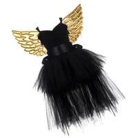 1 set tutu dress suit fairy golden wing mesh tutu dress set sleeveless skirt set for girls cosplay party bla