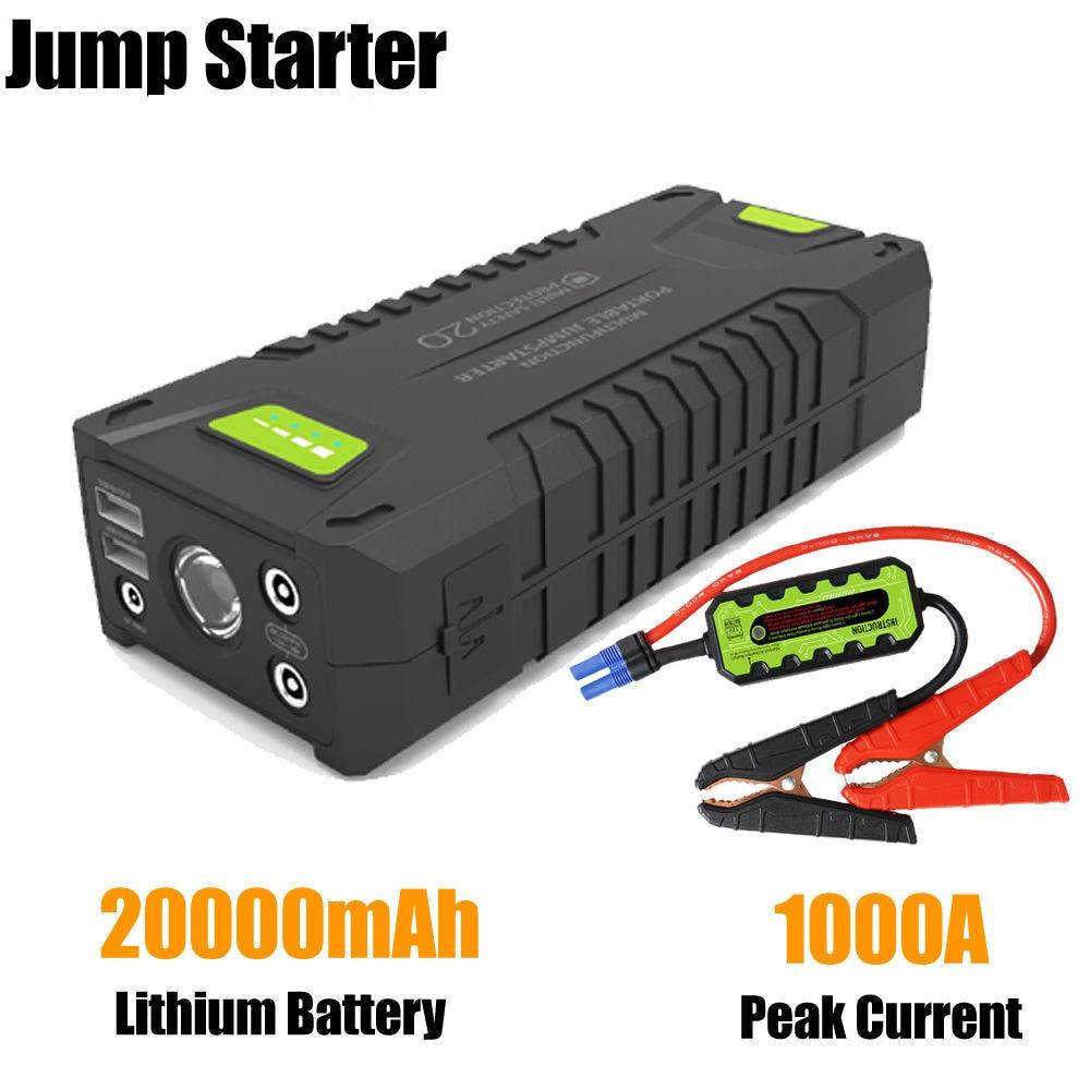 Автомобильный Аккумулятор Booster 1000A пиковый ток 20000 мАч 12-вольтовый портативный автомобильный стартер для всех 12В бензина
