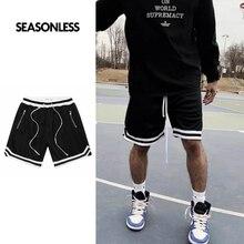 SEASONLESS Men's Basic Basketball Shorts For Men Mesh with Zipper Pocket High Street Hip-Hop