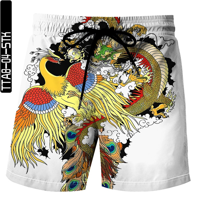 Summer 2021 latest Chinese dragon 3D printing Bermuda beach sports shorts unisex sports casual shorts XL S-6XL