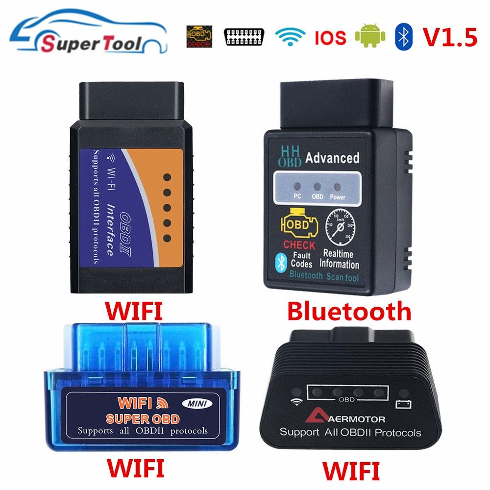 OBD2 Auto escáner ELM327 Bluetooth/WIFI V1.5 OBDII ELM 327 BT/Wi-Fi 1,5 HHOBD HH OBD ELM327 Bluetooth V1.5/1,5 ELM 327 interruptor