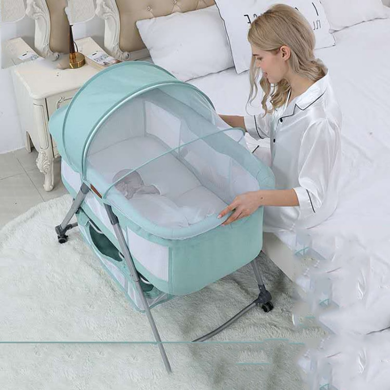 Folding Crib Cradle Bed Stitching Big Bed Bb European Multifunctional Portable Crib Newborn Bed Rocking Baby Bassinet enlarge