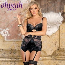 Ohyeahlover Bodysuits Plus Size Sexy Lingerie Delicate Lace Stitching Exquisite Metal Buckle Gartere