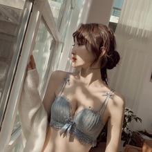 Women's Underwear Small Chest Push up Thin Lace Breast Holding Upper Support Big Bra Sexy Summer Bac