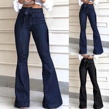 Femmes jambe large Denim Jean taille haute Bandage 2020 nouvelles femmes printemps été Jean dames Stretch tarif pantalons longs