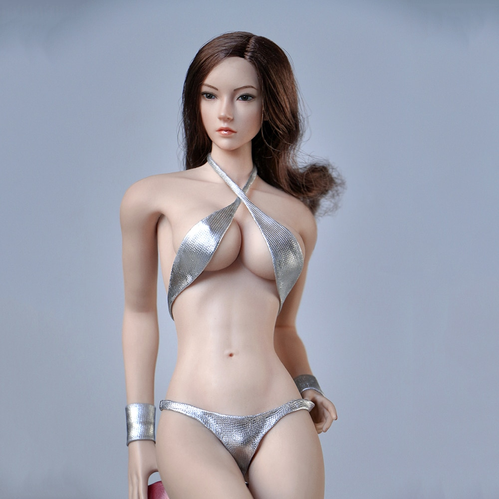 1 6 sexy female clothes set ft001 zipper bundle leather underwear clothes socks shoes for 12 action figure without head body m3 1/6 Scale Soldier Female Costume Sexy Silver Bikini Clothes Set Model for 12 '' Action Figure Body DIY Accessory