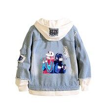 جاكت جينز بتصميم محبب من ماركة فرانكس انمي Harajuku ملابس خروج عصرية للأولاد سترة واقية من الرياح للسيدات بلوز ثنائي بغطاء للرأس مزين برسوم كارتونية