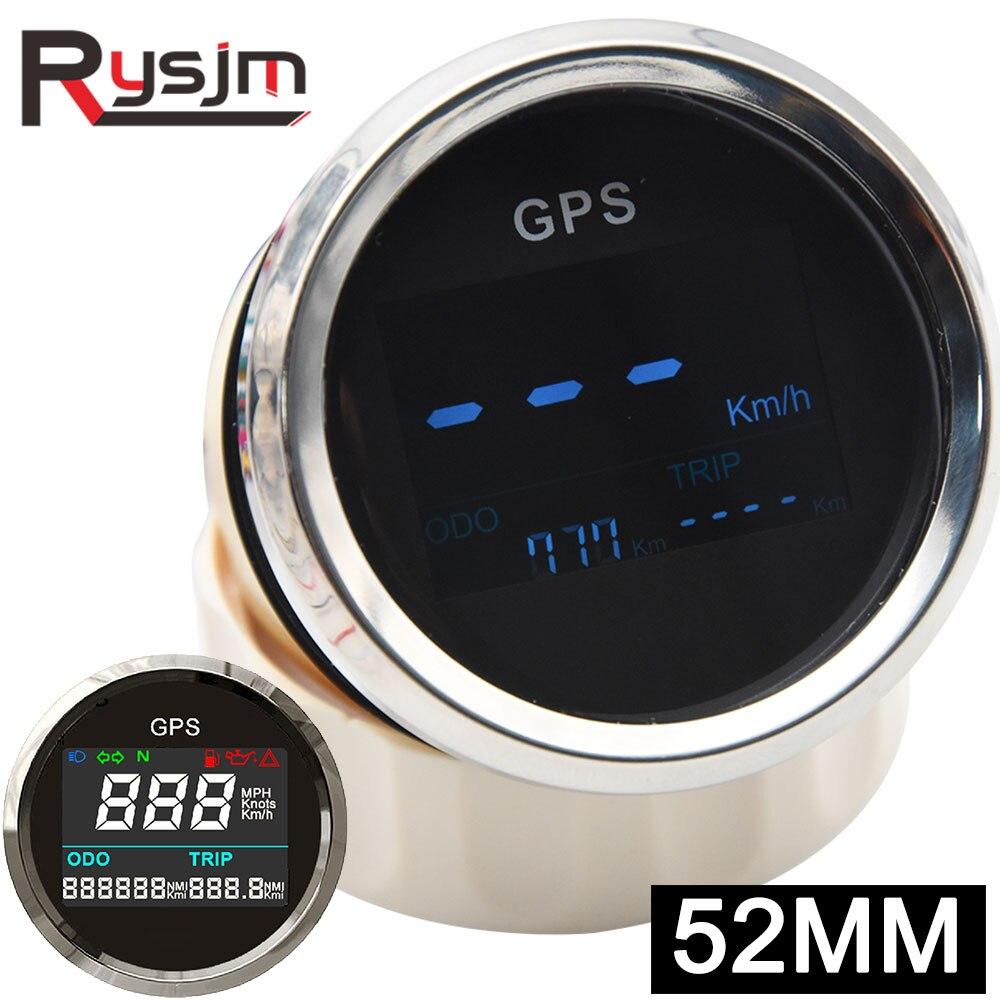 Цифровой мини-прибор для измерения скорости, с GPS, 52 мм, с антенной, 12 В/24 В