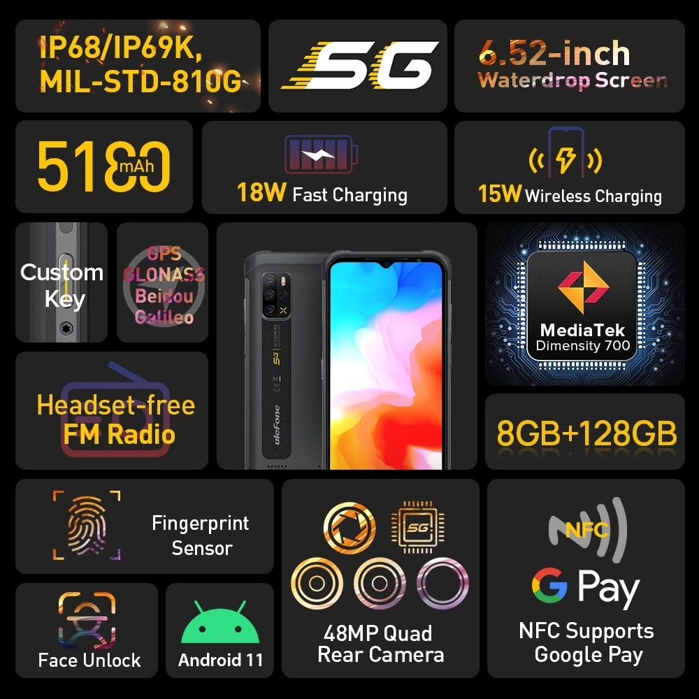 Ulefone Armor 12 5G Rugged Waterproof CellPhone Android 11 8G 128GB Mobile Phone 6.52 Inch Smartphone 5180mAh Global Version NFC enlarge