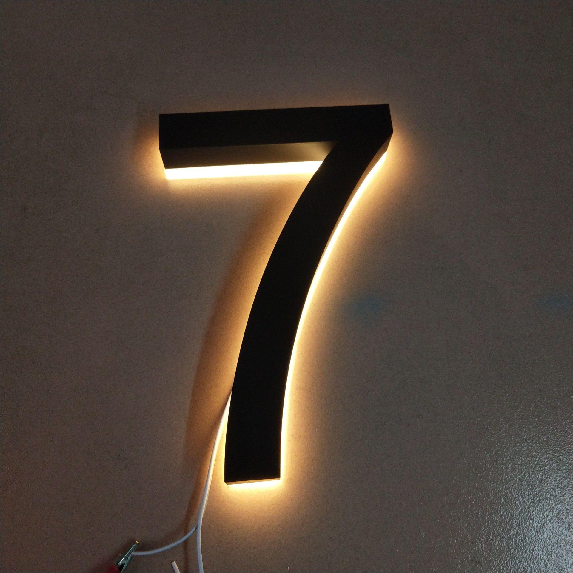 في الهواء الطلق مقاوم للماء عالية السطوع الاكريليك علامات الفولاذ المقاوم للصدأ حروف بإضاءة LED housenumber