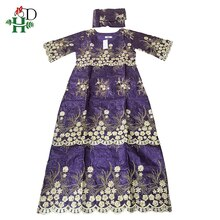 H&D Bazin Riche Fabrics Women Maxi Dress African Ankara Dresses Traditional Embroidery Dashiki Dress Robe Africaine Femme 2020