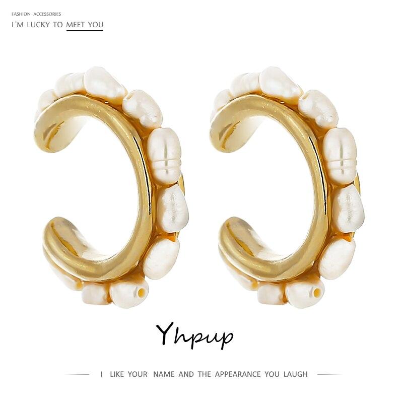 Yhpup Mode C Form Ohr Knochen Ohrclip für Frauen Elegante Natürliche Perle Kein Piercing Trendy Metall Ohrringe Jahrestag Geschenk 2020