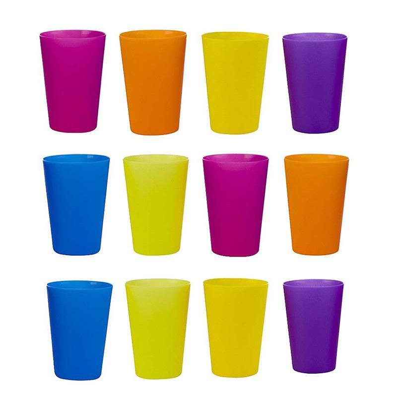 12 шт. пластиковых планшетов, портативные цветные чашки для пикника, барбекю, кемпинга, фестиваля, дня рождения, Набор чашек для чая и кофе (ра...