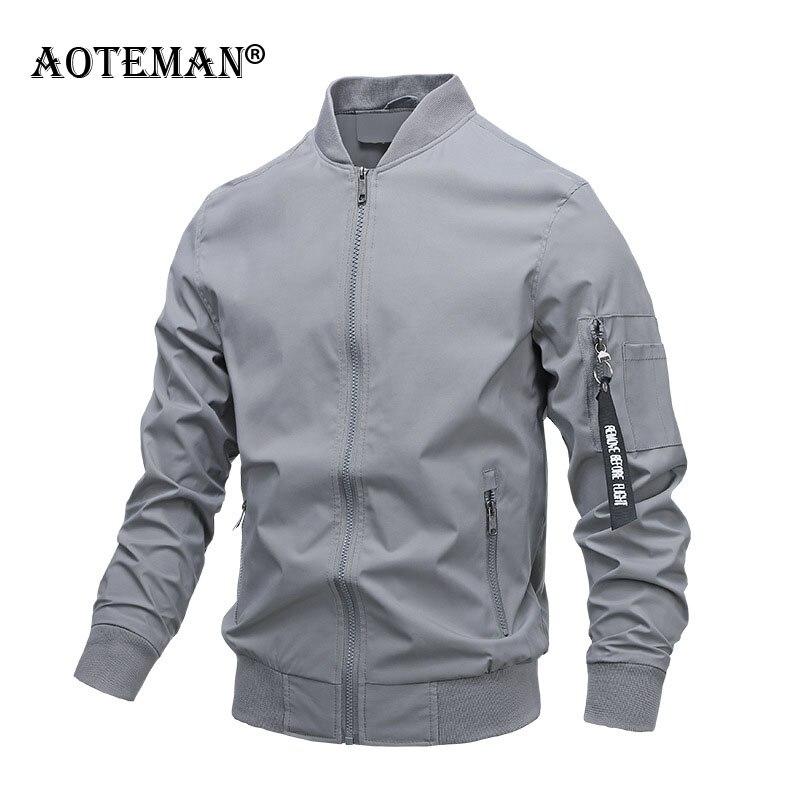 Мужская куртка-бомбер, мужской комбинезон, однотонная куртка, Мужская одежда, весна-осень 2020, приталенная Модная брендовая куртка для мужчи...