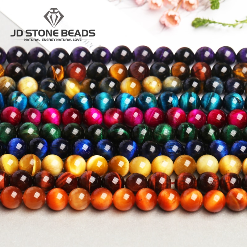 Aaaaa + 13 cores tiger eye contas de pedra diy acessórios para jóias artesanais gemstone grânulos soltos fábrica dire