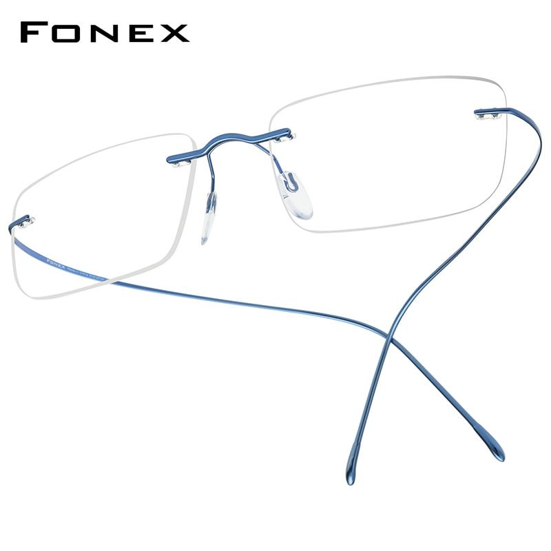 FONEX B Titanium Glasses Frame Men 2020 Women Rimless Prescription Square Eyeglasses Frames Myopia Optical Korean Eyewear F85634