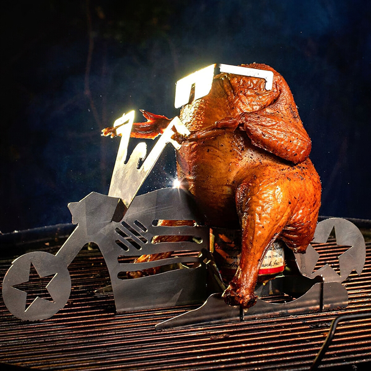 Creative Chicken Stand Holder With Beer Can Roaster Chicken Rack American Motorcycle Shape Chicken Grilling Rack BBQ Accessories