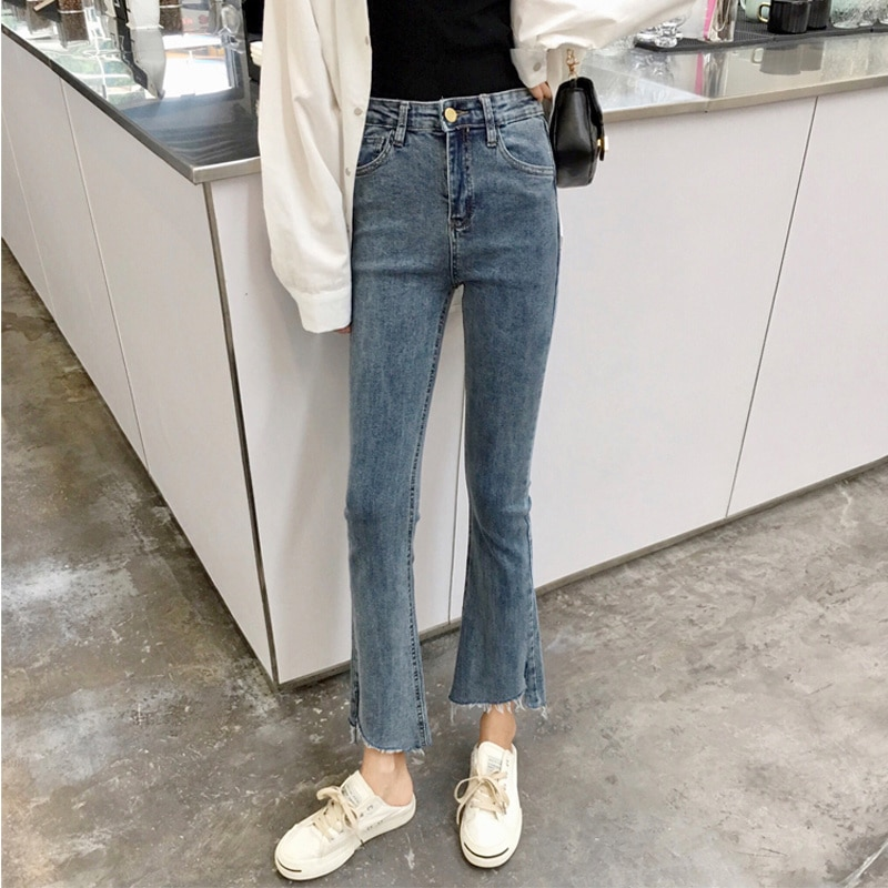 Denim Pants Spring And Autumn 2021 New Micro Flared Pants High Waist Tight Black Thin Split Cropped