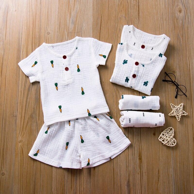 2020 Baby Summer Clothing Infant Kids 1-5T Baby Girls Boys Cotton Linen 2Pcs Carrot Print Outfits Short Sleeve Tops Shirt Shorts