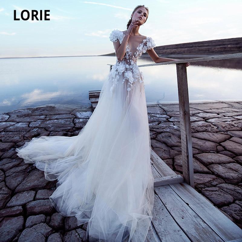 LORIE-فستان زفاف بوهيمي برقبة دائرية ، زخارف زهور ثلاثية الأبعاد ، رسن ، زفاف ، 2020
