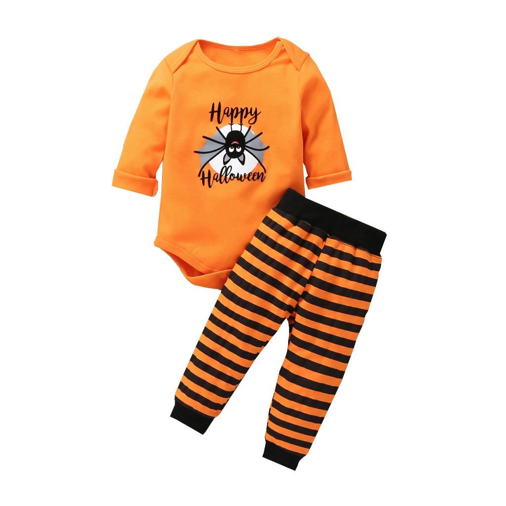 KANCOOLD, ropa de Halloween para niños, ropa de manga larga con alfabeto de dibujos animados, bolsa de punto de araña, ropa de pedos + Pantalones de rayas negras, traje