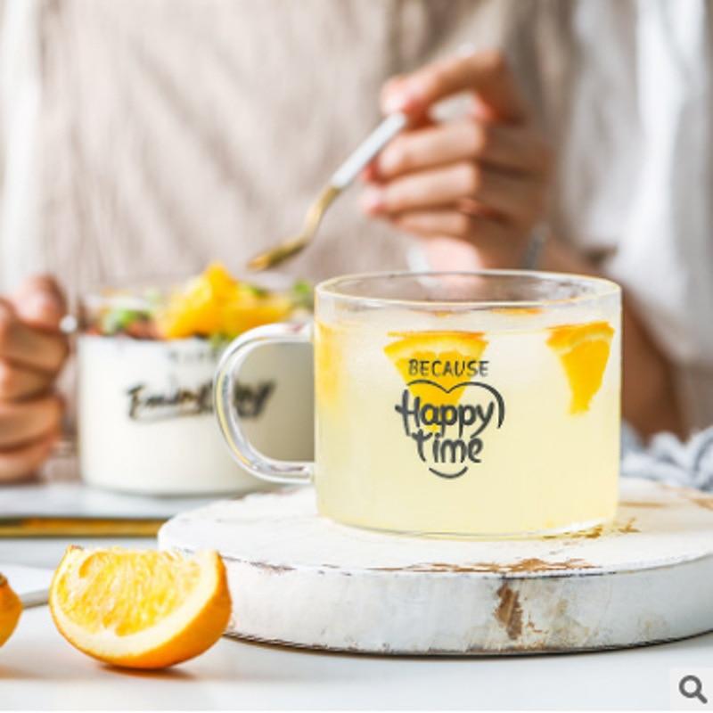 500 مللي صديقة للبيئة عالية البورون سيليكون الزجاج الشوفان الحليب الإفطار كوب كوب زبادي كبير البطن الشاي القهوة أكواب