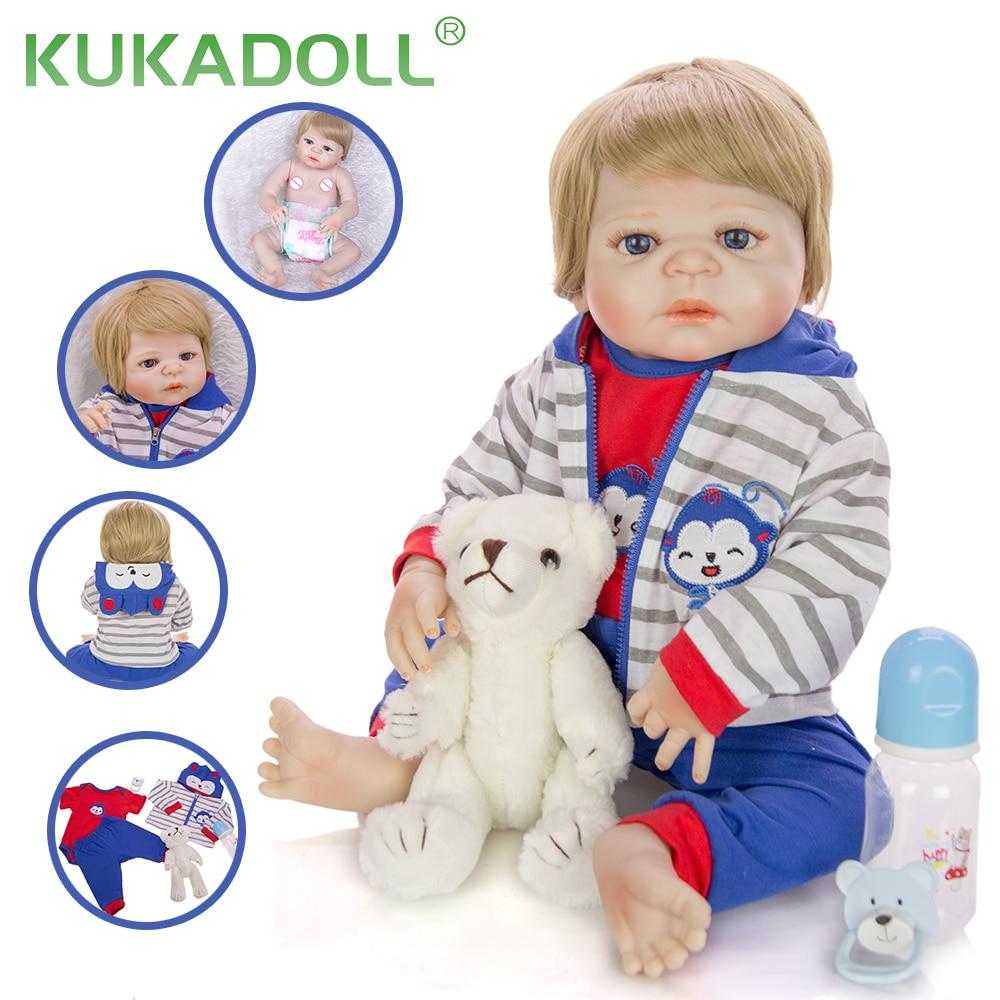 KUKADOLL realistyczne 23 Cal silikonowe całe ciało Reborn Babies lalki chłopiec modne zabawki dla dzieci prezenty bożonarodzeniowe Present Playmate Doll
