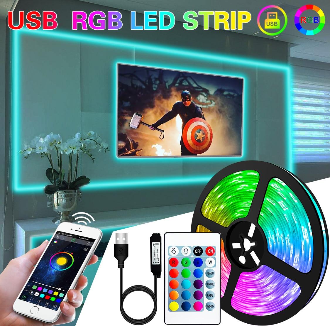 1M 2M 3M 5M 10M LED Strip Light Flexible Lamp USB Bluetooth Led Lighting RGB Tape Diode For TikTok Light TV BackLight Party