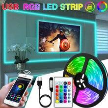 1M 2M 3M 5M 10M LED Strip Light lampada flessibile USB Bluetooth Led illuminazione RGB diodo a nastro per TikTok Light TV retroilluminazione Party