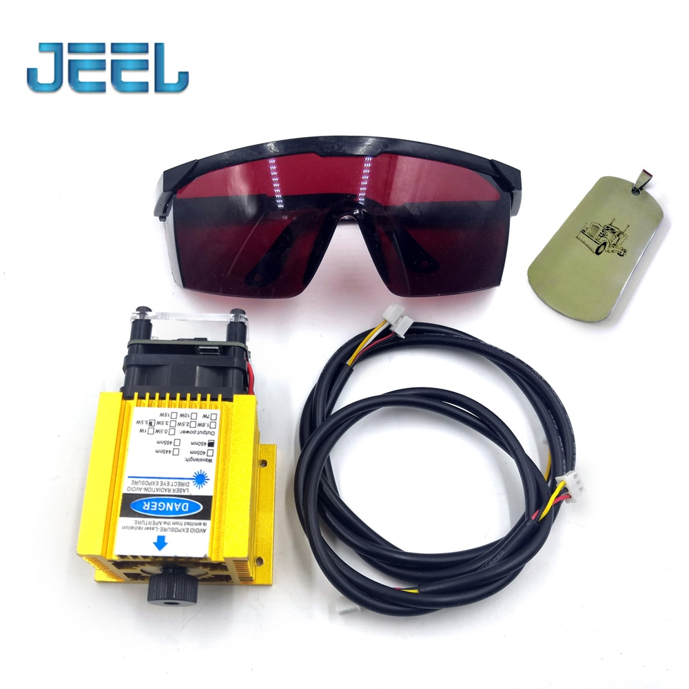 450nm 5500mW 12V Adjustable Focus Laser Module With TTL /PWM,5.5W Laser Engraving And Cutting TTL Module +Goggles