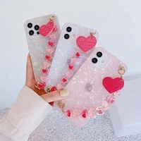 soft slim glitter glossy pearl pattern cover case for iphone se2 11 pro max xs x xr 8 7 plus 6 6s 12 mini bracelet cover