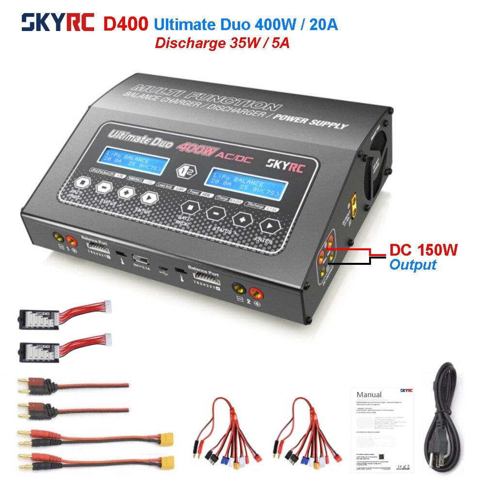 SKYRC-شاحن توازن ذكي مزدوج ، D400 ، 400 واط ، 20 أمبير ، لبطارية 2-7S LiPo LiFe ، ليثيوم أيون ، مصدر طاقة إخراج DC150W