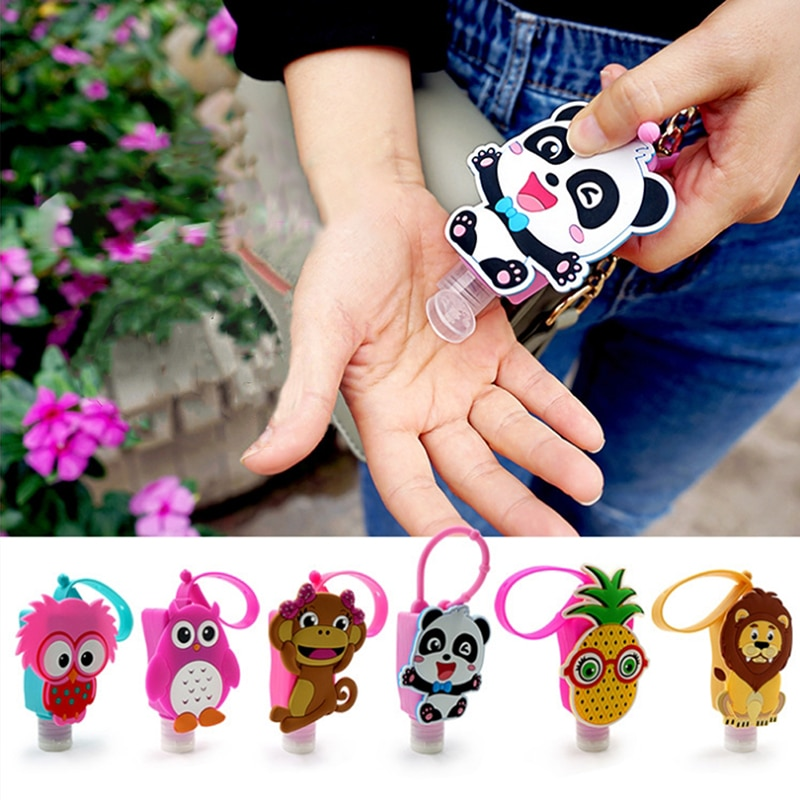 Cartoon Silicone Mini Hand Sanitizer Holder Travel Portable Safe Gel Holder Hangable Liquid Soap Dispenser Containers For Kids