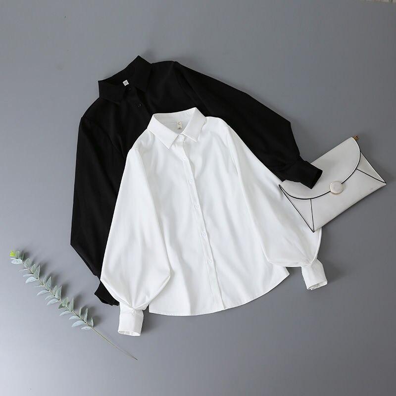 Deeptown Lantern Sleeves Vintage Shirts Women Elegant White Womens Blouse with Lush Sleeves 2021 Fashion Button Up Shirt Black