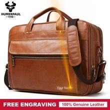 Gravure gratuite 100% en cuir véritable hommes porte-documents daffaires sac à main ordinateur portable grand sac à bandoulière messager de haute qualité Bolsas