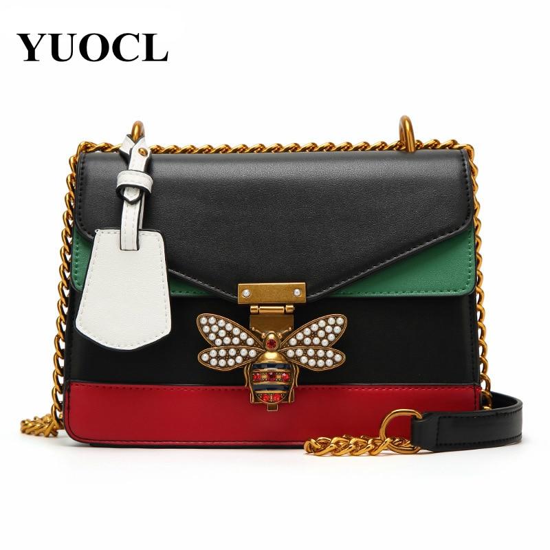 Bee Pu Leather Crossbody Evening Bags For Women 2021 Chains Shoulder Messenger Bag Female Ladies Sling Luxury Handbags Designer
