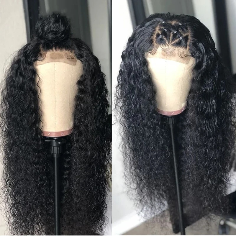 Hairmoda 4X4 Kinky Curly Lace Closure Human Hair Wigs For Women Lace Closure Wig With Baby Hair Natural Color 150% Density