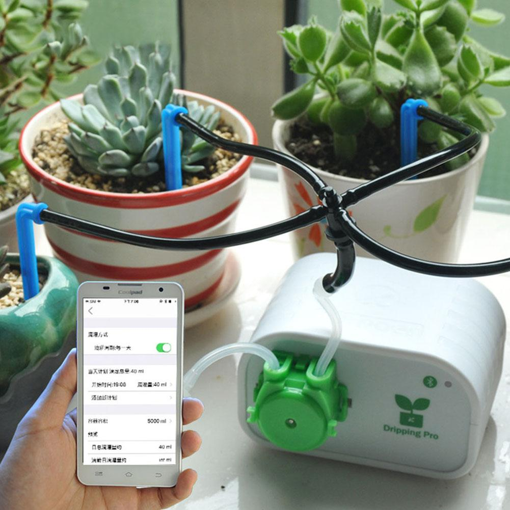 Dispositivo de riego automático inteligente para jardín, Control de teléfono móvil, herramienta de riego por goteo de plantas carnosas, sistema de temporizador de bomba de agua