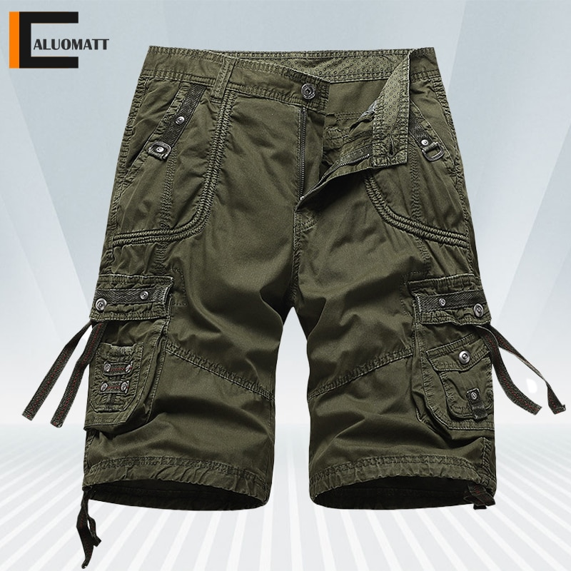 Summer New Cargo Shorts Mens Military Loose Work Outdoor Hiking Cargo Pants Male Solid Big Pocket Be