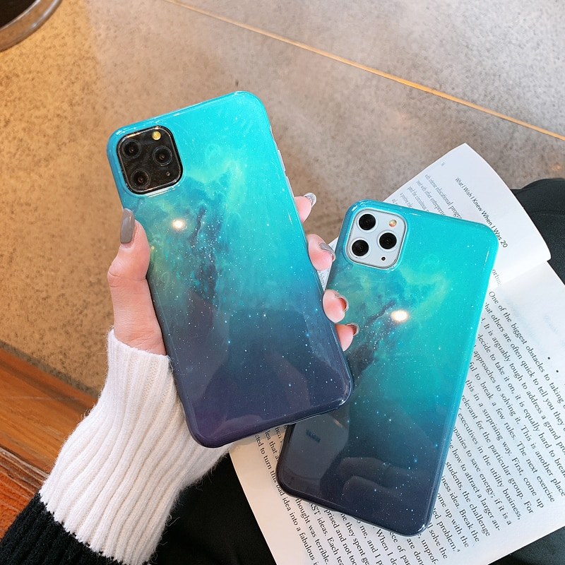 Funda para teléfono nebulosa estrellada aurora para iphone 11 11Pro Max XS Max X XR para iphone 7 8 7Plus funda de silicona suave brillante