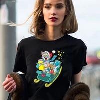 kawaii women t shirt funny cartoon printed clothes summer 2 colors fashion female top tees short sleeves o neck harajuku t shirt