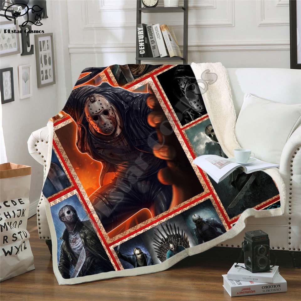 Mais novo filme de terror jason voorhees personagem chucky cobertor gothic sherpa velo wearable jogar cobertor microfibra cama