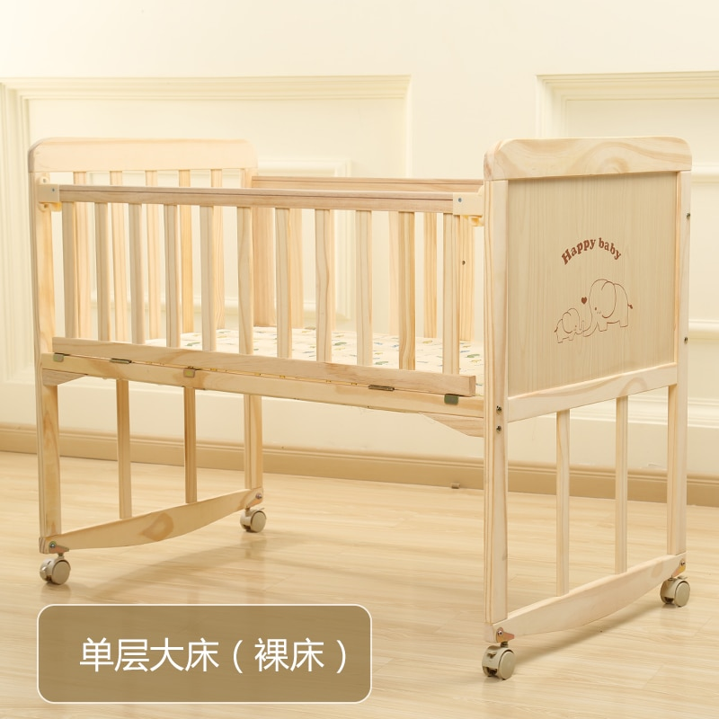 834 Baby Bed Solid Wood Babies' Bed Multi-functional BB Small Bed Newborn Children Side Bed European Style Folding Joint Bed enlarge