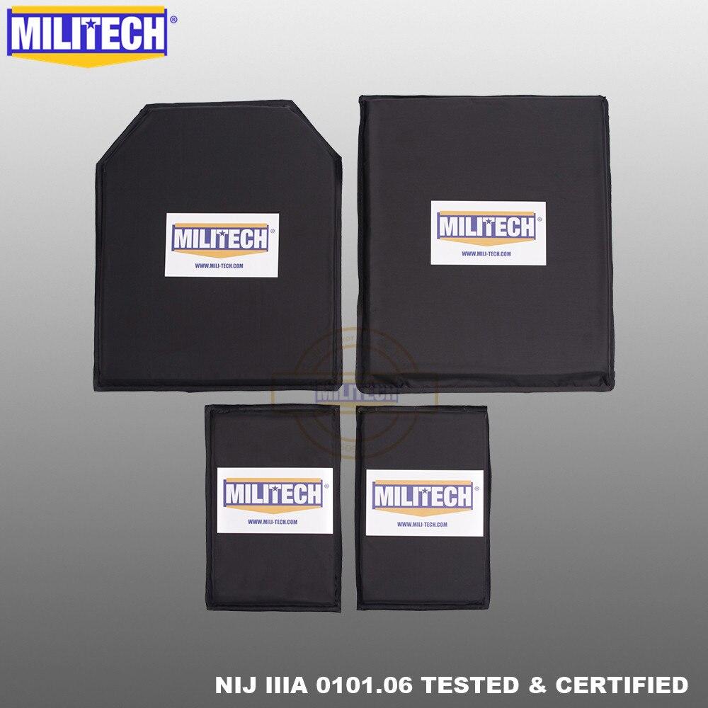 MILITECH 10x12 STC & SC ve 5x8 çift Aramid balistik paneli kurşun geçirmez plaka yumuşak kemer yan zırh NIJ seviye IIIA 3A