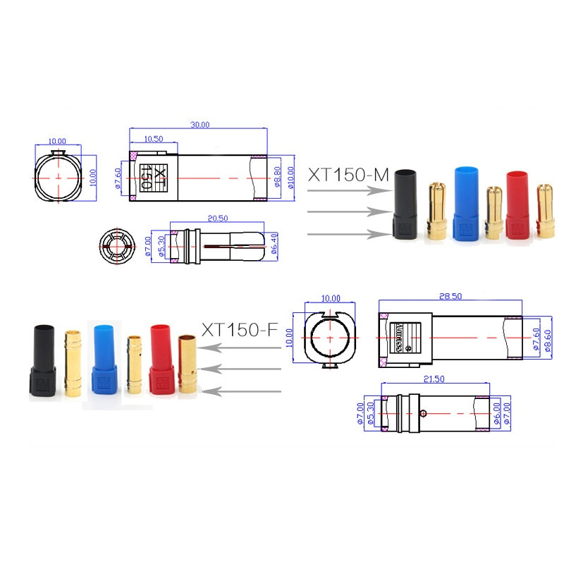 9 Pair/lot Amass XT150 Male & Female Bullet Connector Plugs With Protective Hub 6.0mm Gold-plated Connector enlarge